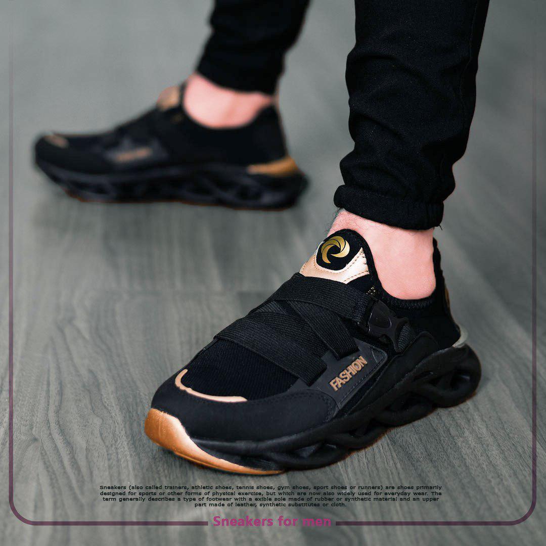 کفش مردانه مدل Fashion (مشکی،طلایی)